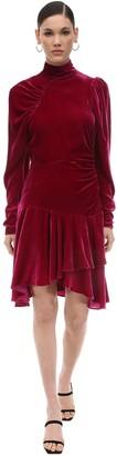 Rotate by Birger Christensen Draped Velvet Mini Dress