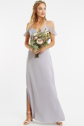 Oasis Pale Grey Ruffle Satin Maxi Dress