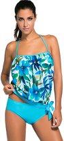 Foryingni Women's 2 Piece Bandeau Blouson Tankini Swimsuit L