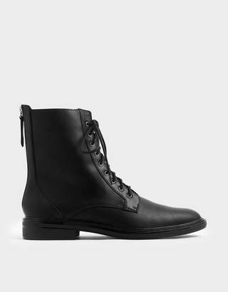 Charles & KeithCharles & Keith Back Zip Lace-Up Calf Boots