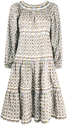 Tory Burch Medallion Print Puff-Sleeve Dress
