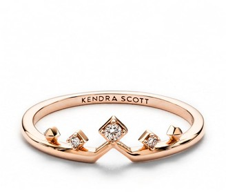 Kendra Scott Michelle 14k Rose Gold Band Ring in White Diamond