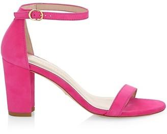 Stuart Weitzman Nearlynude Block-Heel Suede Sandals