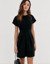 Asos Design DESIGN nipped in waist mini dress in black