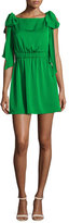 Milly Allie Sleeveless Stretch-Silk Dress w/ Shoulder Bows, Emerald