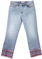 Tory Burch Blue Cotton With Cross Stitch Patterns Cropped Myers Jeans