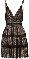 Alice + Olivia Olive Tiered Lace Mini Dress - Black