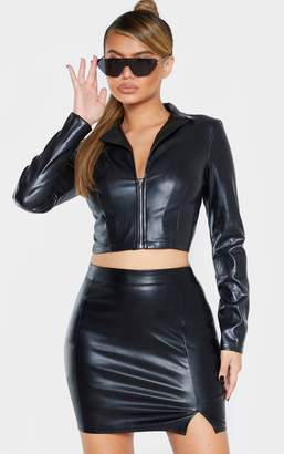 PrettyLittleThing Black Faux Leather Long Sleeve Zip Front Shirt