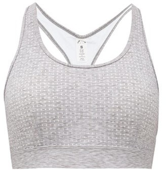 The Upside Heather Anna Low-impact Perforated-jersey Bra - Grey