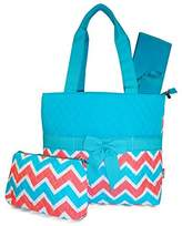 NGIL Blue Pink Chevron Quilted Diaper Bag with Changing Pad and Accessory Case - 3 Piece