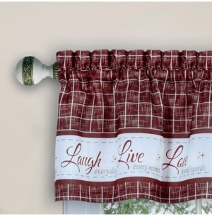 Achim Live, Love, Laugh Window Curtain Tier Pair and Valance Set, 58x24