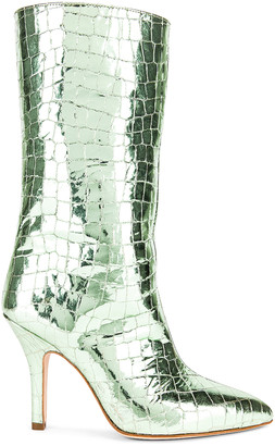 Paris Texas Metallic Coconut Midi Boot in Chartreuse | FWRD