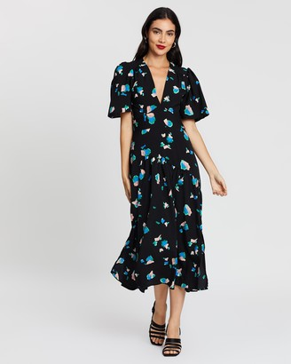 Topshop Spotted Angel Sleeve Midi Dress