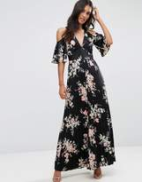 Asos Cold Shoulder Maxi Dress In Satin Floral Print