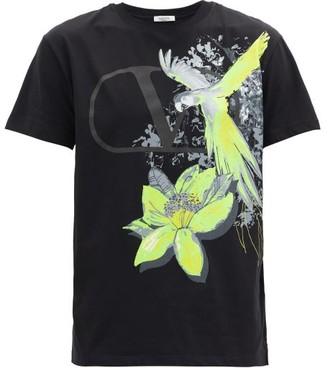 Valentino Jungle Parrot-print V-logo Cotton T-shirt - Black