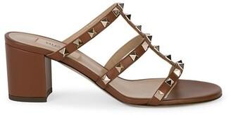 Valentino Rockstud Leather Block-Heel Slides