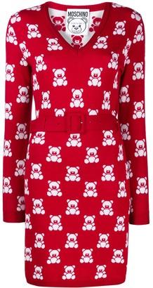 Moschino jacquard teddy bear belted dress