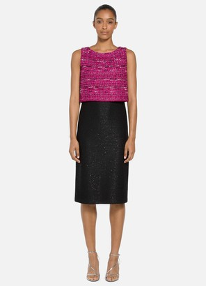 St. John Opulent Textured Tweed Dress