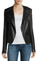 Theory Peplum Jacket Leather Jacket, Black