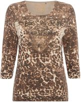 Tigi Embellished Animal Print Top