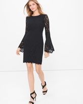 White House Black Market Black Lace Bell-Sleeve Shift Dress