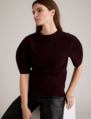 Marks and Spencer Jersey Crepe Puff Sleeve Top