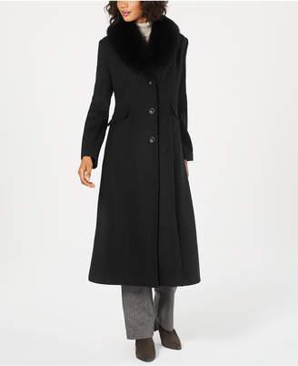 Forecaster Fox-Fur-Collar Maxi Reefer Coat