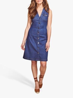 Sosandar Sleeveless Denim Knee Length Dress, Blue