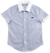 Armani Junior Short-Sleeve Striped Poplin Shirt, Ash, Size 10-14