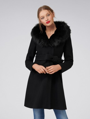 Forever New Josephine Faux Fur Lined Coat - Black - 4