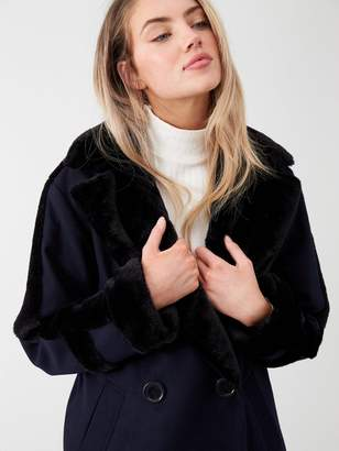 River Island Faux Shearling Trim Coat-navy
