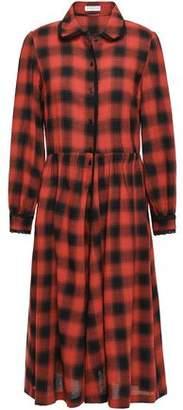 Claudie Pierlot Roanne Lace-trimmed Checked Crepe Midi Dress