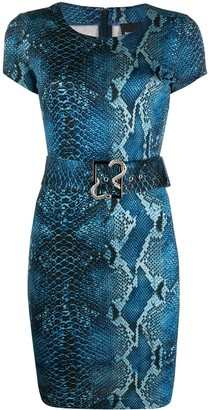 Just Cavalli Python-Print Belted Dress