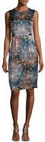 Nanette Lepore Sleeveless Floral Silk Sheath Dress, Dark Green