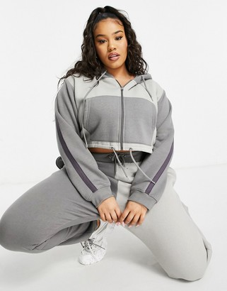 Lasula Plus contrast cropped zip-through hoodie co-ord in grey
