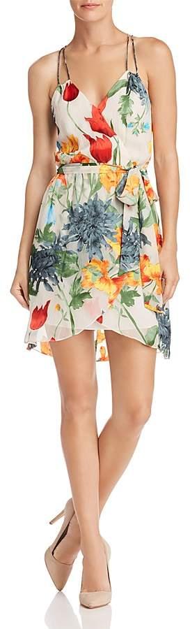 Alice + Olivia Susana Floral Burnout Faux-Wrap Dress