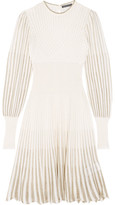 Alexander McQueen Metallic Crochet-knit Dress - Cream