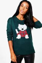 Boohoo Libby Split Hem Scotty Dog Applique Christmas Jumper