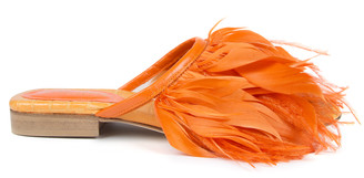 Nora Aÿtch Nora Aytch Farah Orange Feather Slippers
