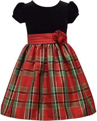 Bonnie Jean Girls 7-16 Velvet Bodice with Taffeta Plaid Skirt