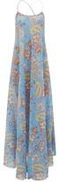 Etro Crossover-strap Paisley-print Silk Maxi Dress - Womens - Blue Print