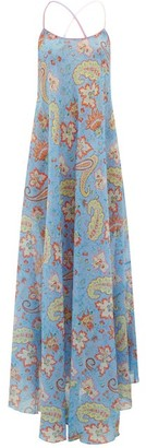 Etro Crossover-strap Paisley-print Silk Maxi Dress - Womens - Blue Print