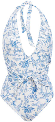 Tory Burch Knotted Printed Swimsuit