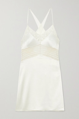 Calvin Klein Underwear Stretch-lace And Tulle-trimmed Satin Chemise - Ivory