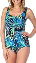 Maxine Of Hollywood Women's Jungle Night Shirred Front Girl Leg One Piece Swimsuit