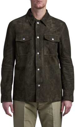 Tom Ford Men's Suede Button-Down Shirt Jacket