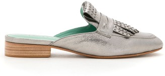 Blue Bird Shoes Leather Slip-On Slippers With Fringe And Embellishment