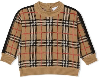 BURBERRY KIDS Check Knit Sweatshirt