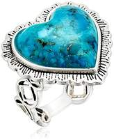 Barse Sterling Silver and Genuine Turquoise Heart Ring, Size 8