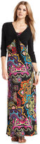 NY Collection Dress and Cardigan, Sleeveless Paisley-Print Maxi